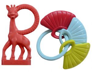 Sophie la girafe Vanilla Teething Ring & Shell Key Rattle Set